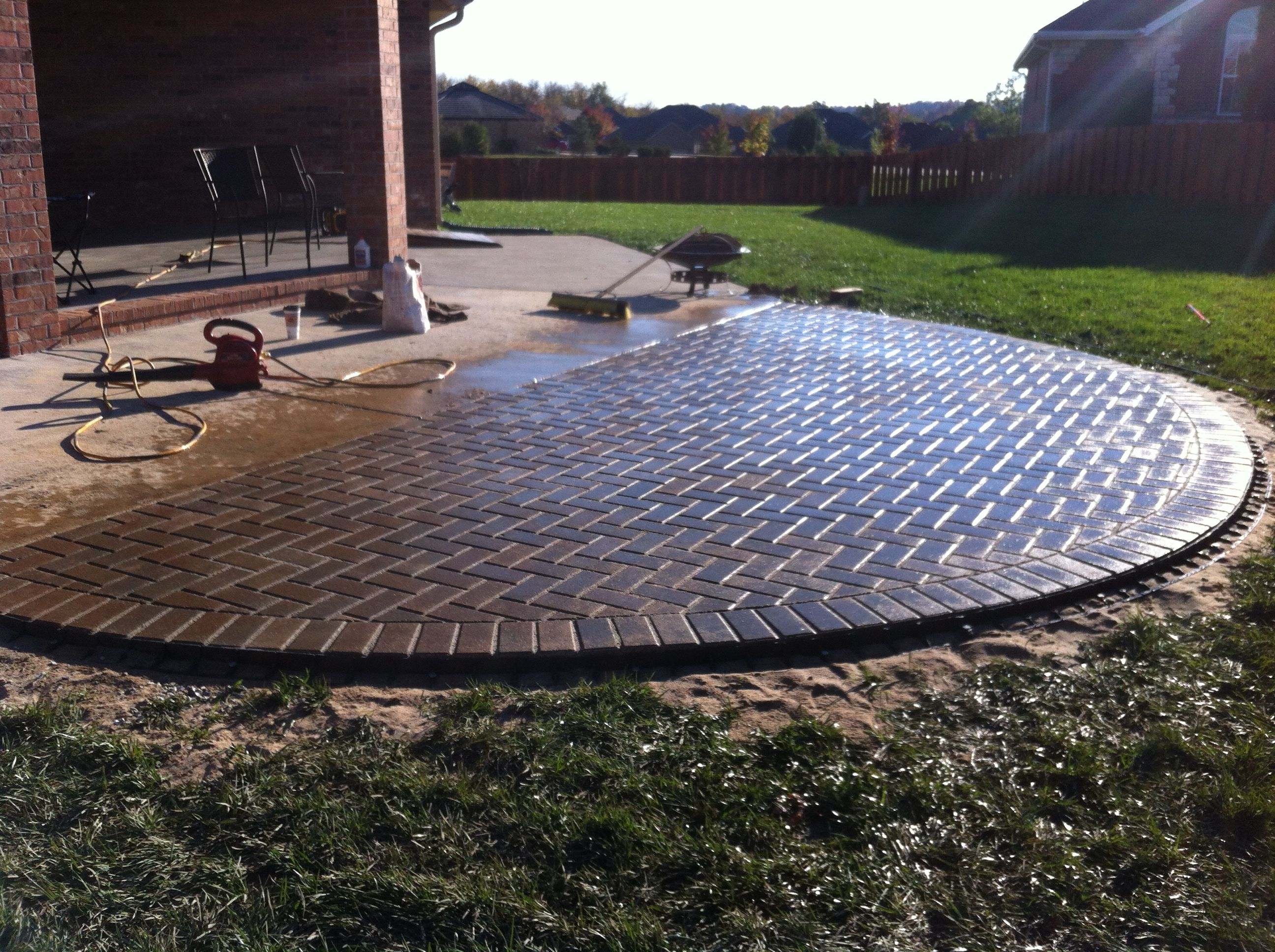 paver patio perfect half circle