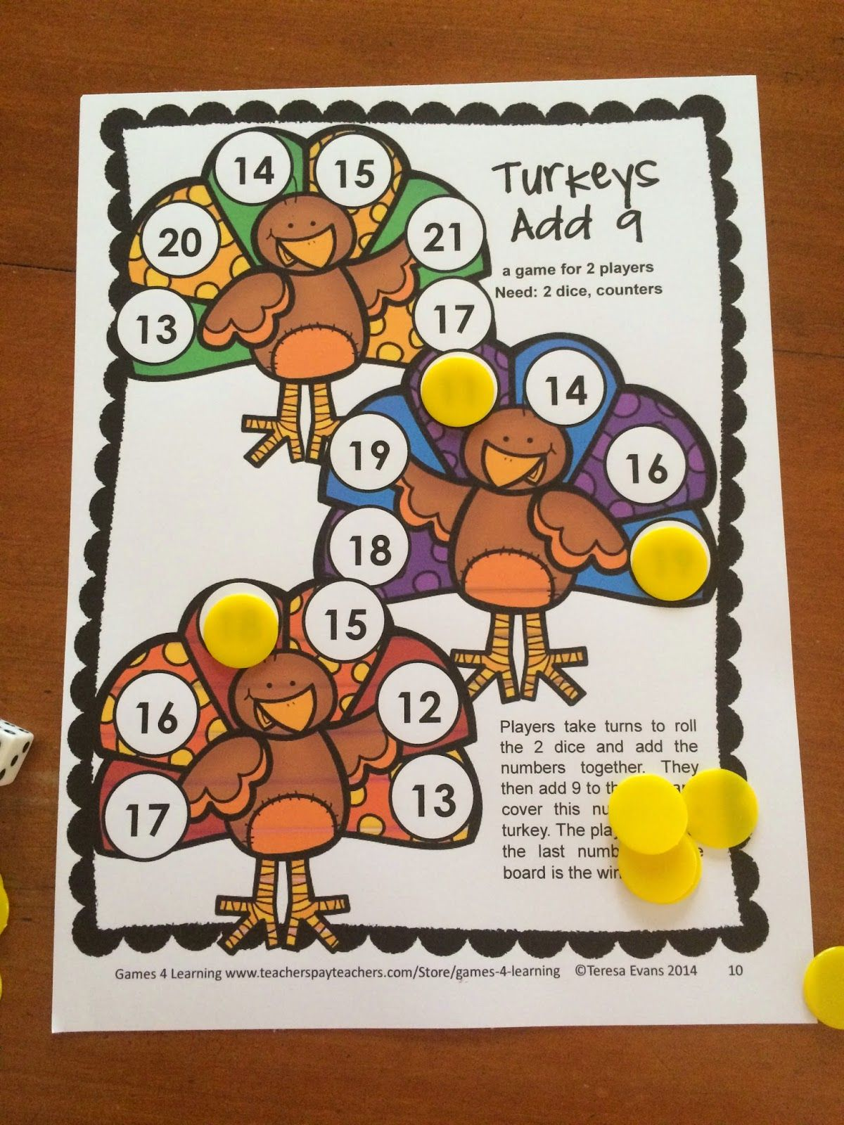 Thanksgiving Math Games Second Grade by Games 4 Learning
