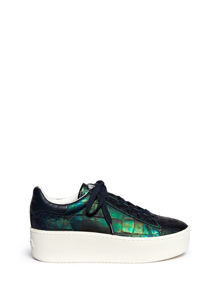 Pin for Later: This Spice Girls-Approved Trend Is Totally Making a Comeback  Ash Cult Holographic Croc Effect Leather Platform Sneakers ($260)