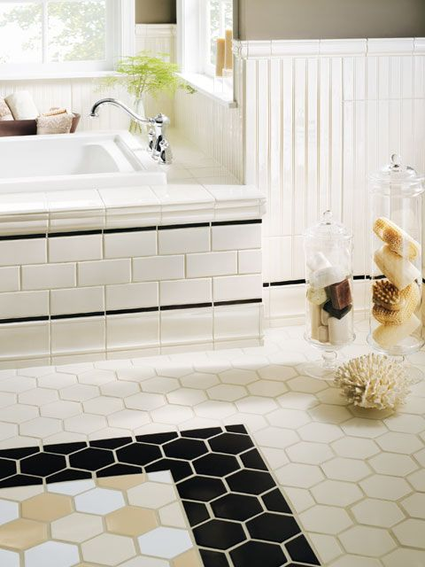 Crossville porcelain tile gallery 4x4 white matte hex for 4x4 bathroom ideas