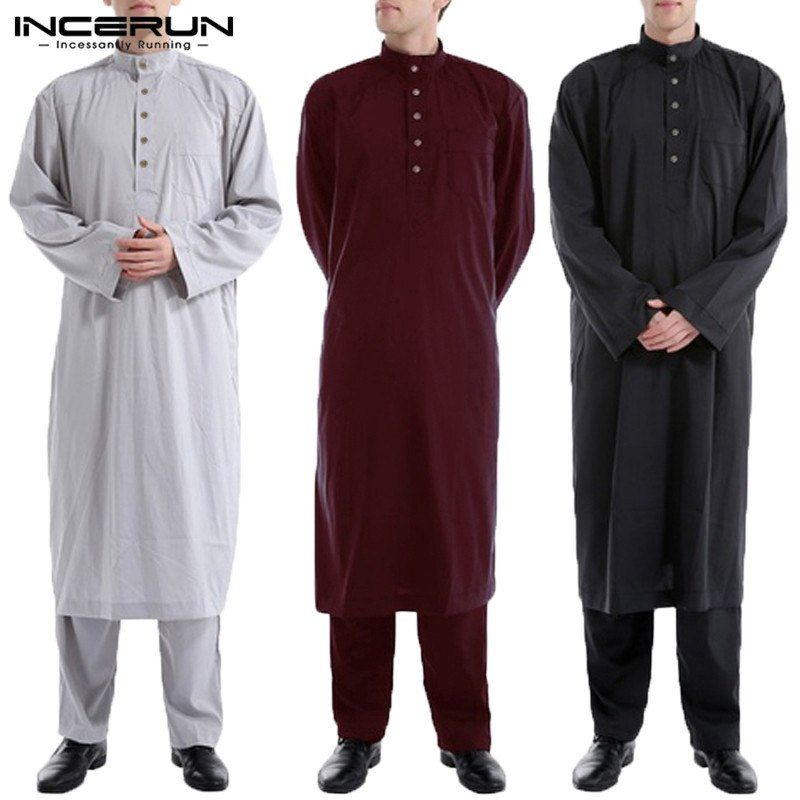 3219343dfc9b INCERUN Muslim Mens Saudi Thobe Robe Arabic Kaftan Dress Long Sleeve Muslim  Islamic Kaftan Thobe Clothing