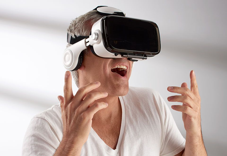 Smartphone Vr Headset With Earphones At Sharper Image Tech Gift
