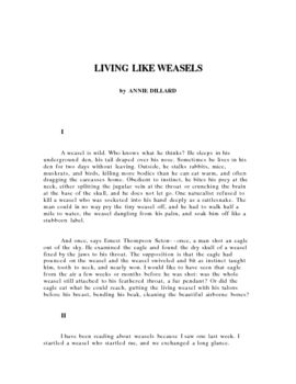 Essay With Thesis This Contains The Excellent Essay Living Like Weasels By Annie Dillard In  Which She Has A Confrontation With A Weasel In A Forest That Changes Not  Only  Health Needs Assessment Essay also Essay Vs Research Paper Living Like Weasels Essay And Writing Prompt  Secondary English  Business Essay Structure