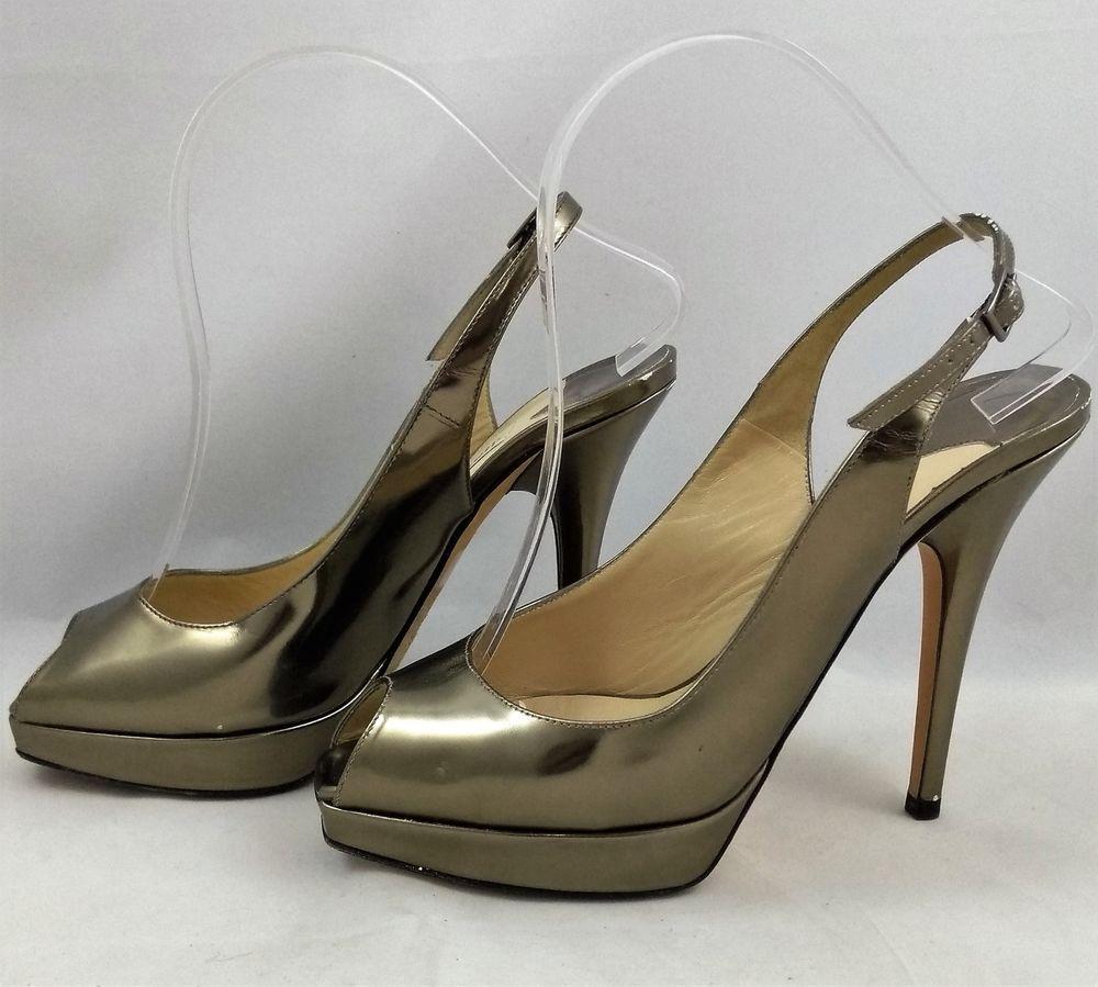 5031215ab01 Jimmy Choo Size 36.5 Heels Patent Gold Pewter Slingback Peep Toe Platform   JimmyChoo  PumpsClassics