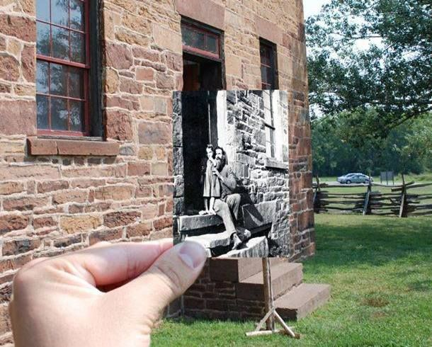 """Then & Now"" photo of the Stone House at  Manassas National Battlefield Park. Benson L. Pridmore & his grand-daughter, Ella Pridmore, in the front doorway looking westward, circa 1880. #TBT #ThrowbackThursday #NationalParks"