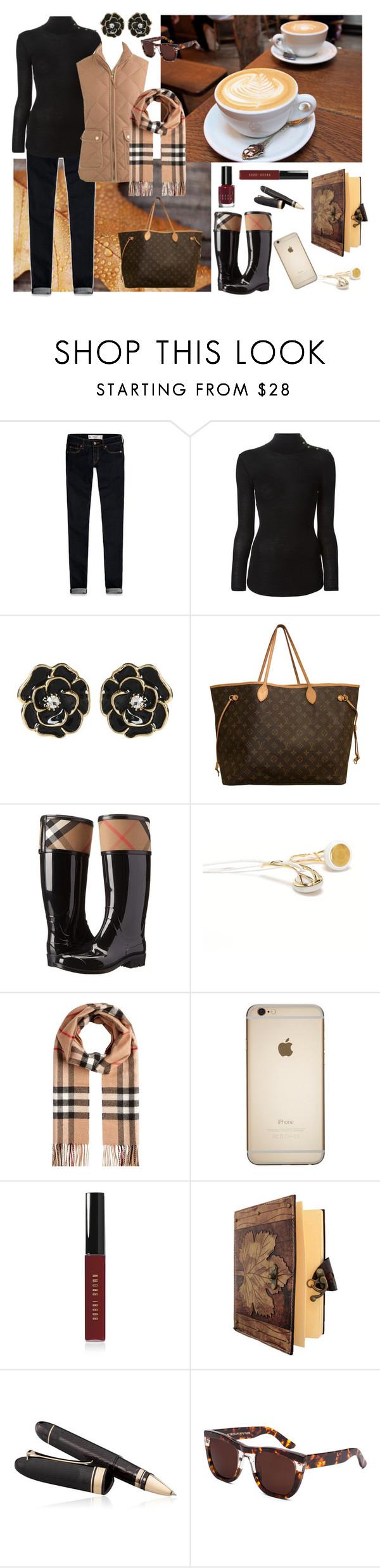 """""""Journal Writing at the Cafe"""" by margaretebooth ❤ liked on Polyvore featuring Abercrombie & Fitch, Balmain, Amrita Singh, Louis Vuitton, Burberry, Frends, Bobbi Brown Cosmetics, OMAS and RetroSuperFuture"""