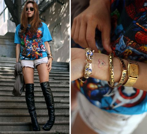 THE GRAPHIC TEES WITH THEM BOOTS! DIE! What Kind of Super Hero Are You? (by Aimee Song) http://lookbook.nu/look/400733-What-Kind-of-Super-Hero-Are-You