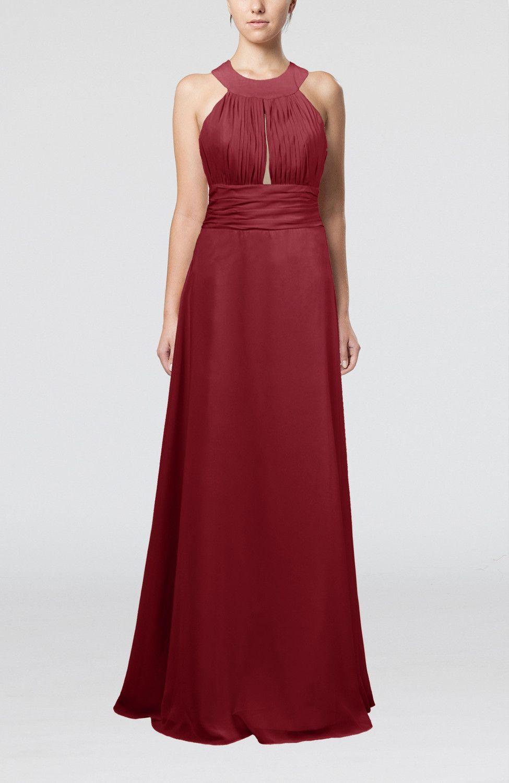 Dark red homecoming dress informal aline sleeveless zip up
