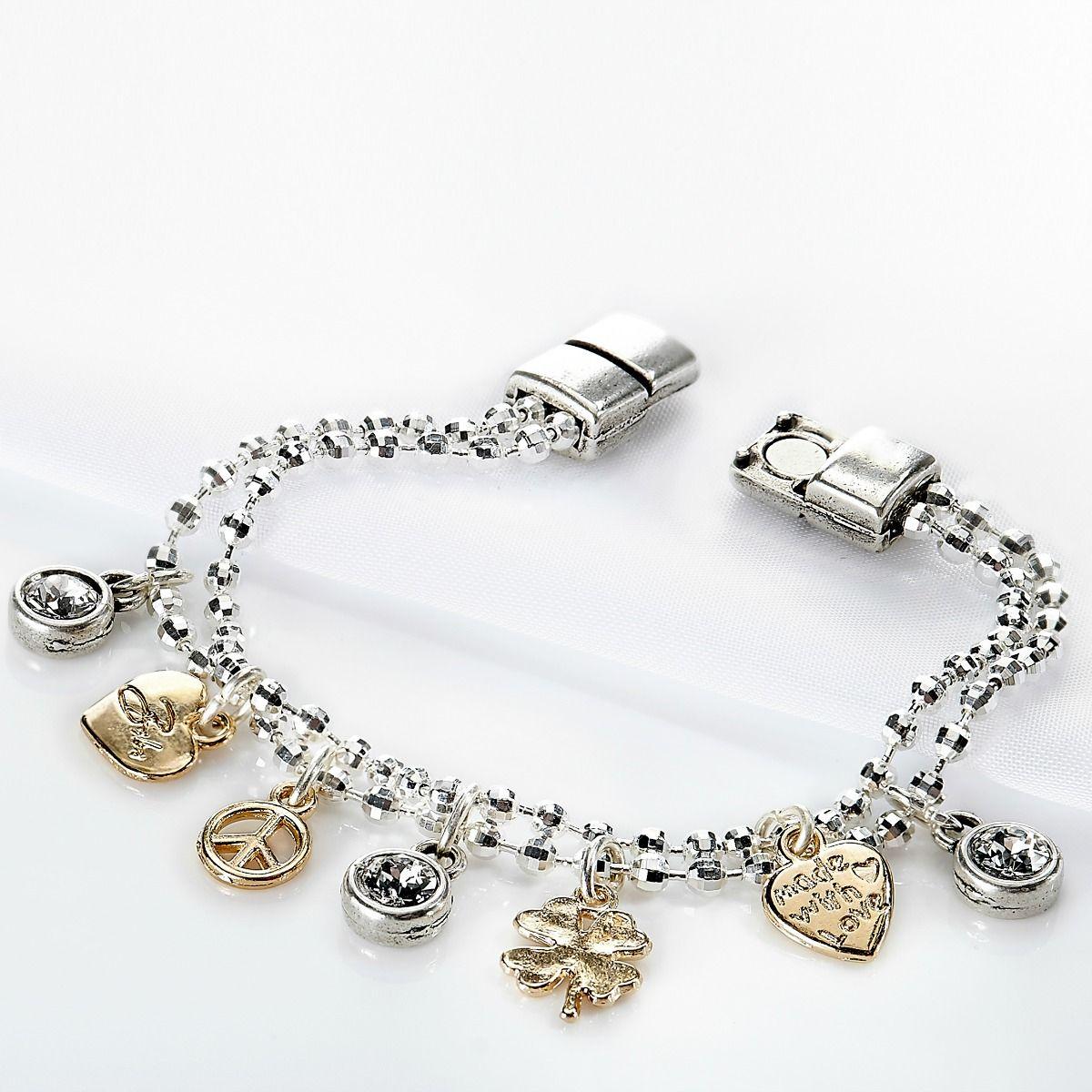 Magnetic Charm Bracelet: Bibi Bijoux Sparkle Charm Bracelet W/ Magnetic Clasp