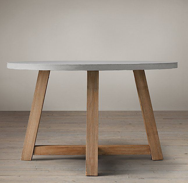 Minimalist Salvaged Wood & Weathered Concrete Beam Round Dining Table Luxury - Style Of refurbished wood table Luxury
