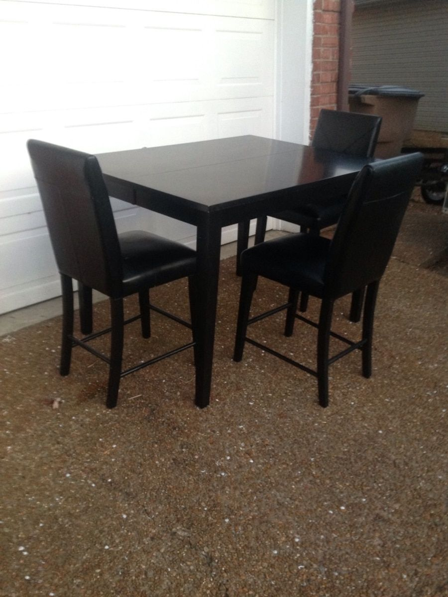 Used Rectangular Black Wooden Table Counter Height With Three