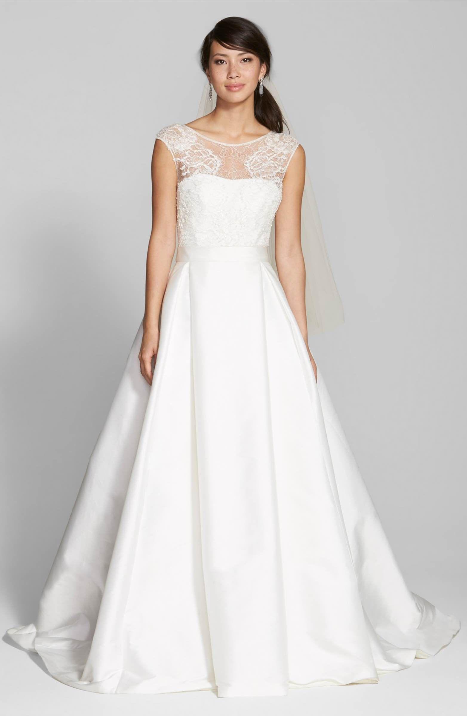 Lace u swiss dot tulle dress with mikado overskirt swiss dot