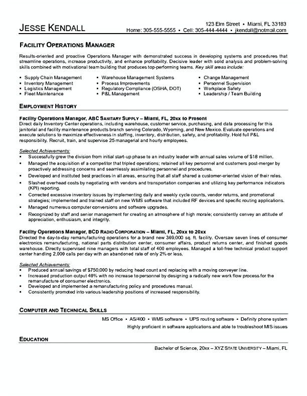 Facility Operating Manager Resume  Facility Manager Resume