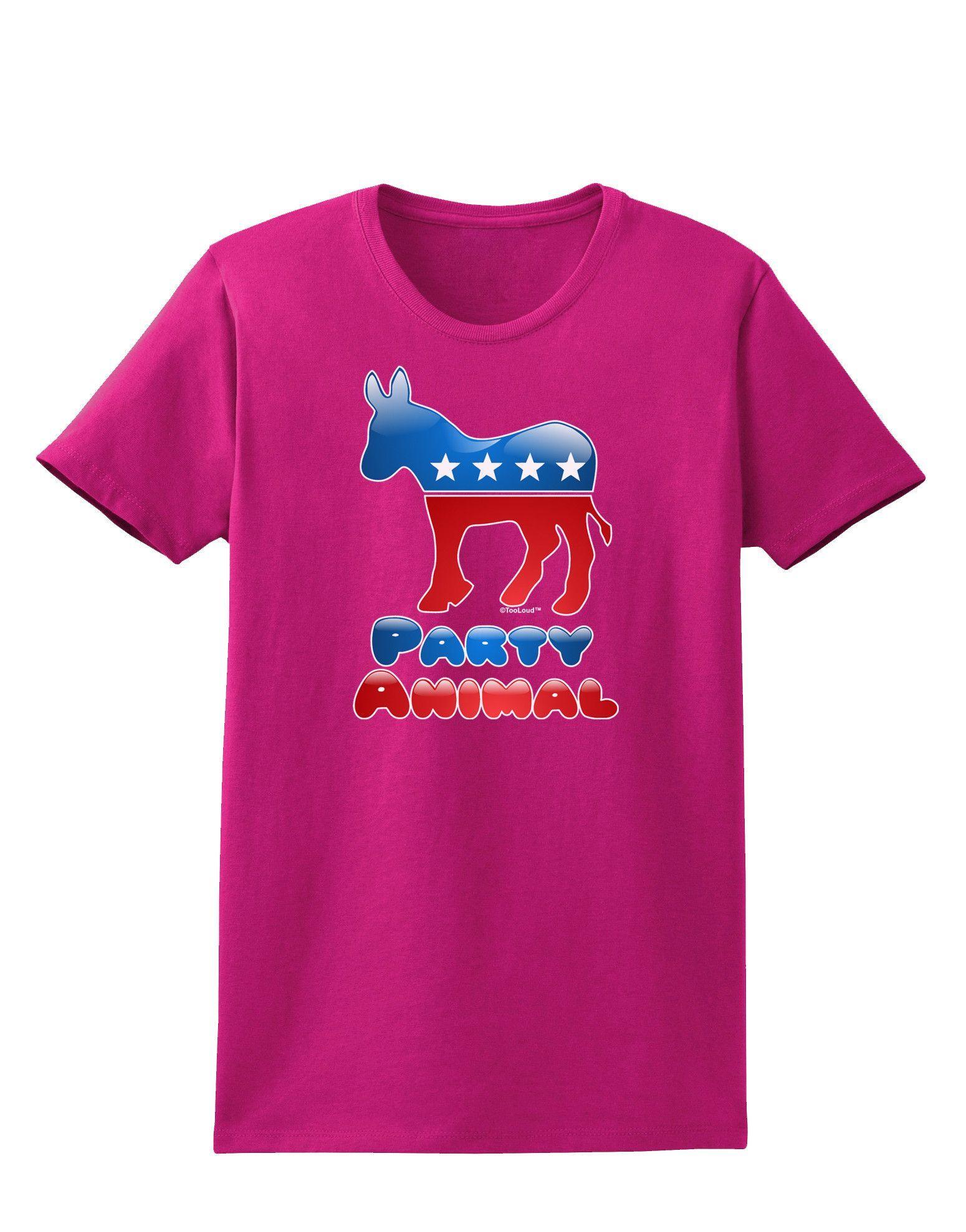 TooLoud Democrat Party Animal Womens Dark T-Shirt