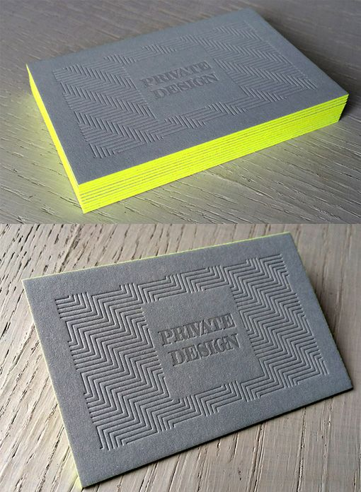 Textured letterpress business card design with bright neon edge textured letterpress business card design with bright neon edge painting reheart Choice Image
