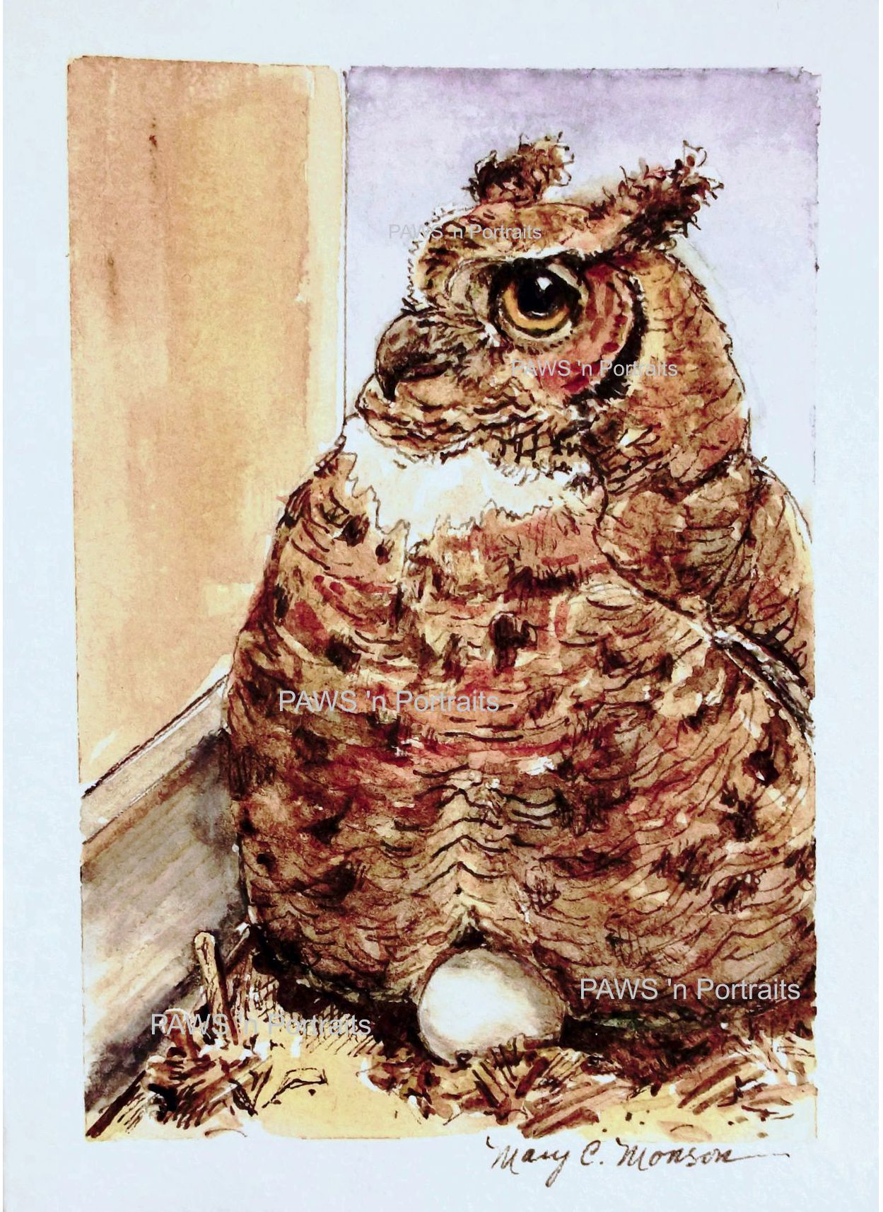 Mrs tiger on her egg sabre first owlet of the season in 2014 watercolor and ink on strathmore greeting card stock with envelope paws n portraits by mary c monson kristyandbryce Choice Image