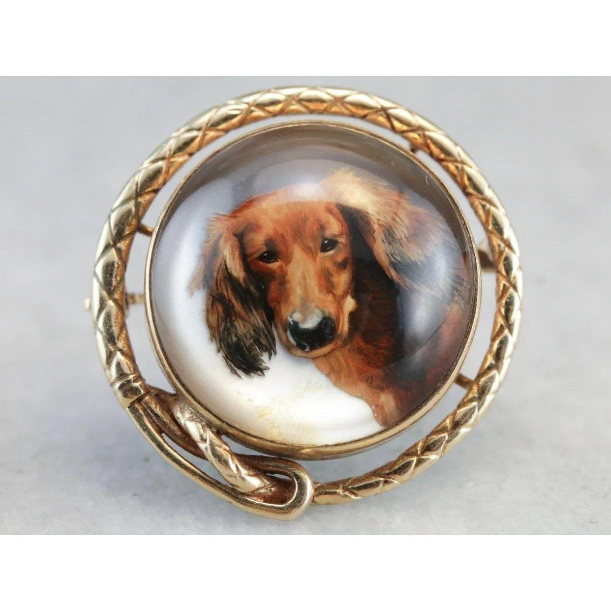 Antique Dog Essex Crystal Pin Hunde Bilder