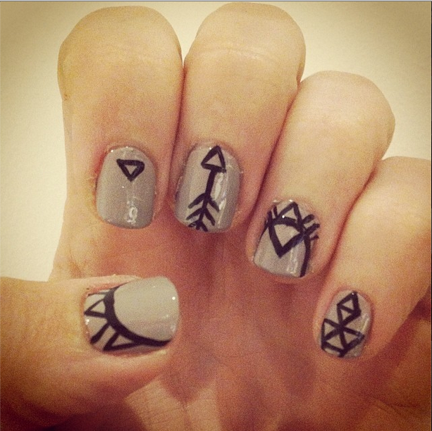 Beige And Black Tribal Freehand Nail Art Nails Pinterest