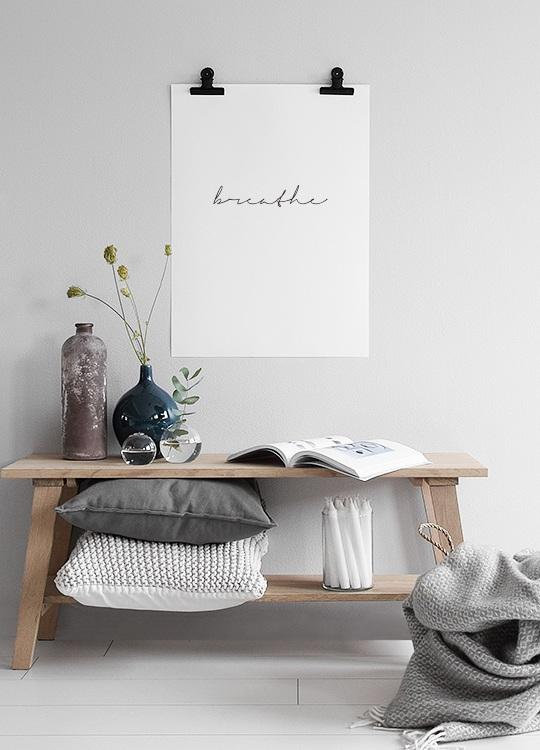 Zwart-wit print, breathe #deseniobilderwandwohnzimmer