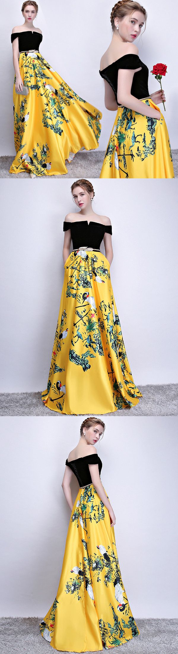 Chic a line yellow prom dress modest beautiful floral cheap long