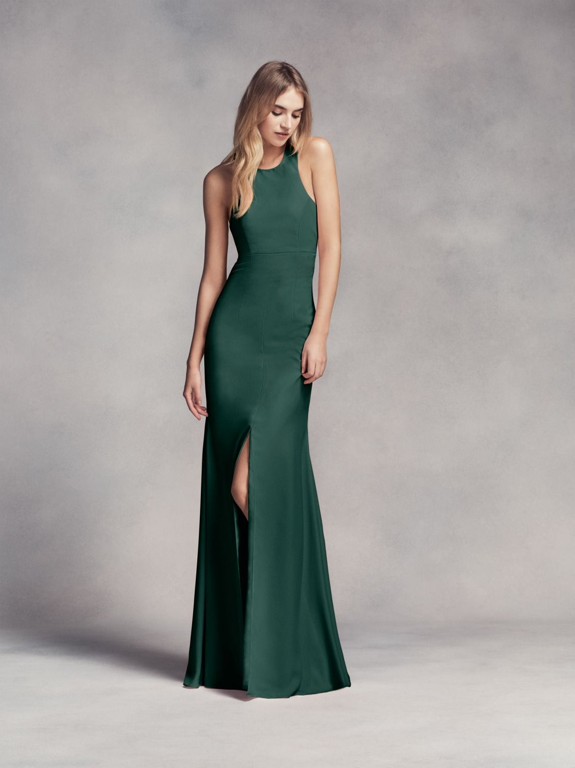 2a189ad8bc Long Halter Bridesmaid Dress with Skirt Slit in Forest Green by WHITE by Vera  Wang available at David s Bridal