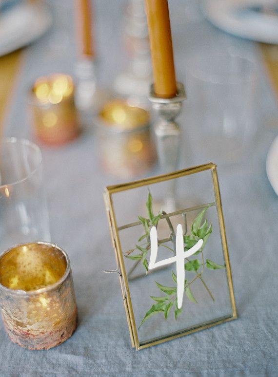 Intimate blue & metallic wedding inspiration. Love the frame table ...