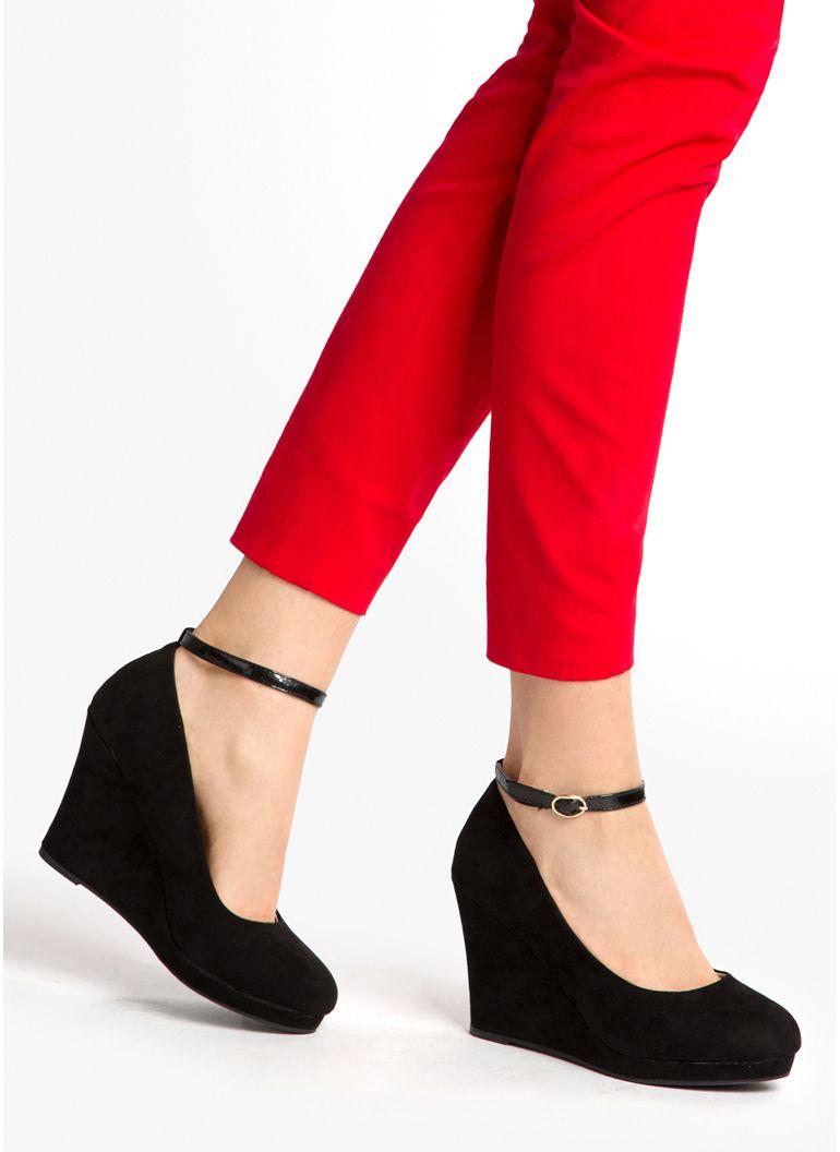 Czarne Koturny Jennifer W Sklepie Deezee Pl Shoes Fashion Capri Pants