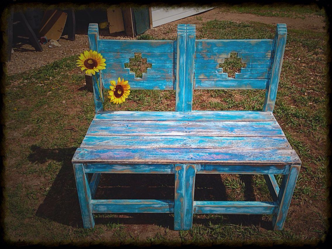 Rustic Bench Made Out Of Two Chairs And Pallet Wood. Sanded , Stained And  Painted Then Sanded Again.