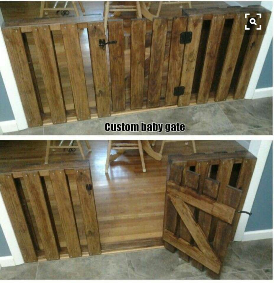 Baby gate made out of pallets   Diy baby gate, Custom baby ...