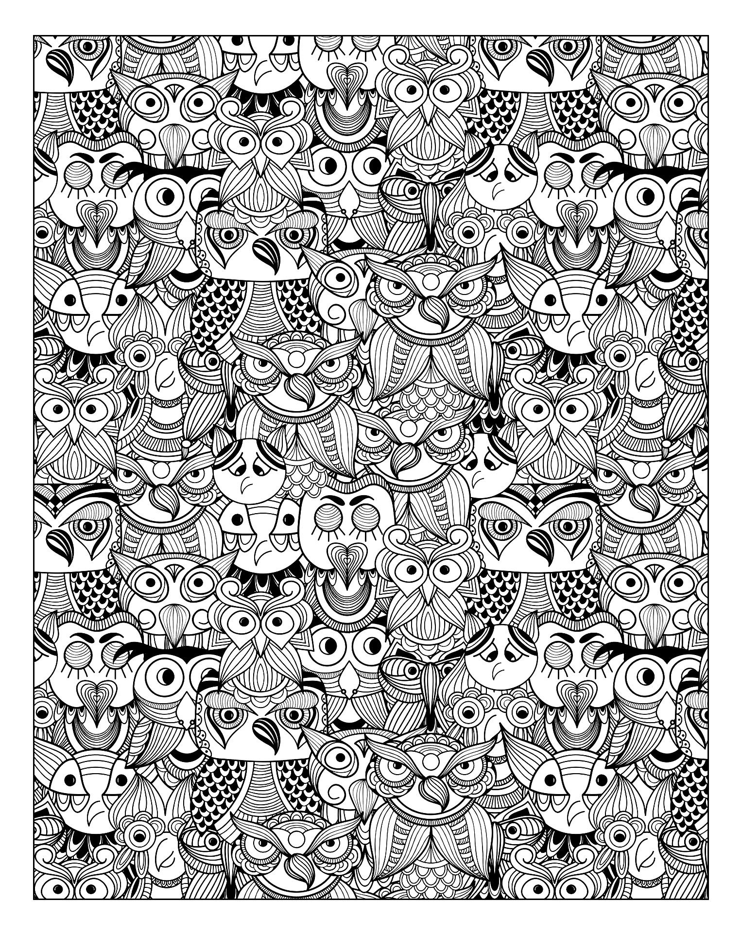 Free Coloring Page «coloring Adult Owls» Coloring Pages