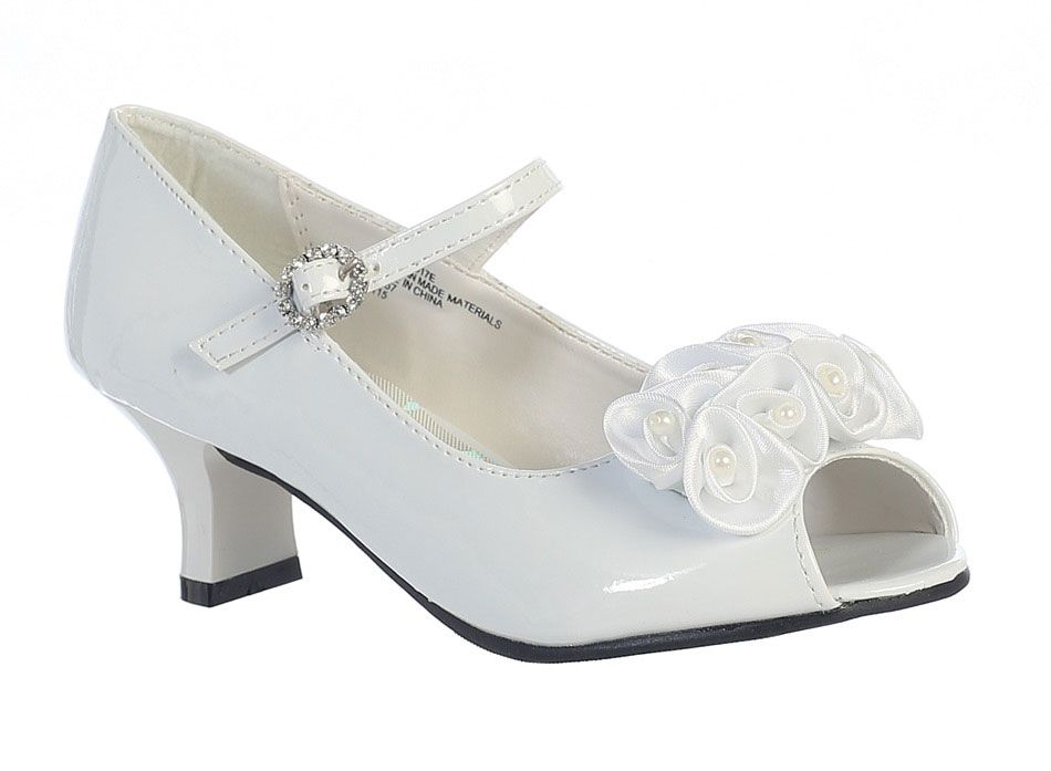 Girls Ballet Style NANCY- Shoes with Pearl Bow Front- Choice of White or Ivory $23.99