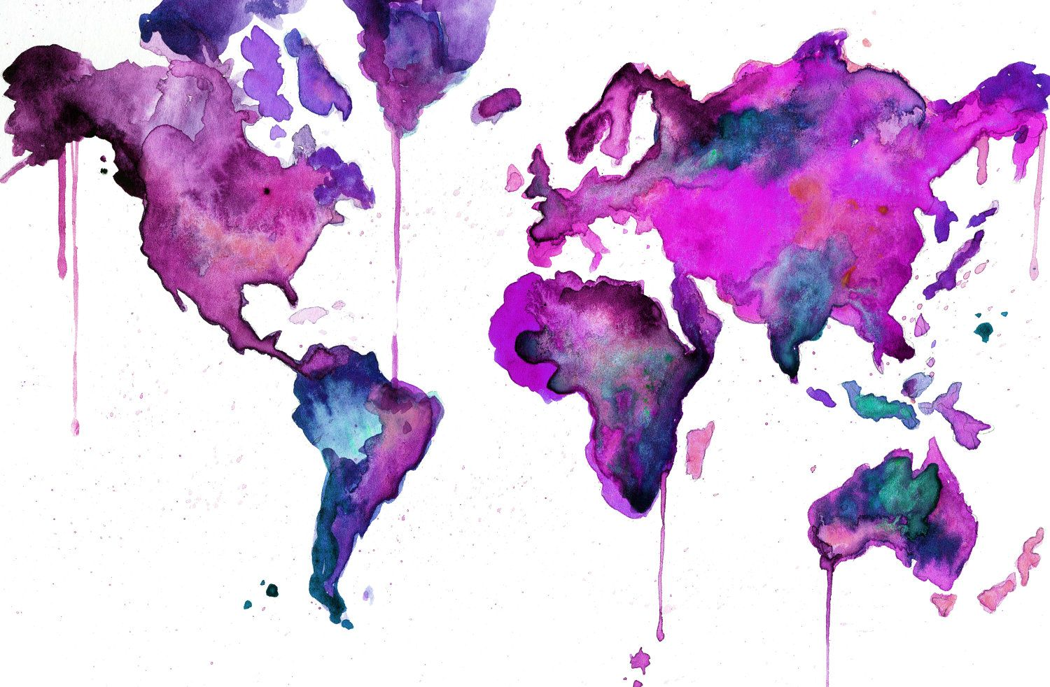 Watercolor map illustration world map no 8 2500 via etsy items similar to watercolor map illustration world map no 8 on etsy gumiabroncs Image collections