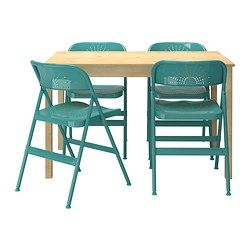 IKEA - INGO / FRODE, Tisch und 4 Stühle, Massive Kiefer; ein Naturmaterial, das in Würde altert.Zusammenklappbar und daher nach Gebrauch leicht zu verstauen.Bequem durch die weiche Rundung von Sitz und Rückenlehne.
