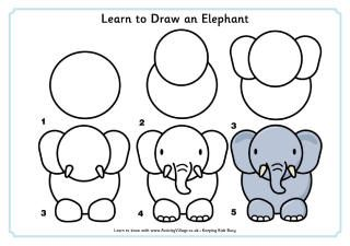 Learn To Draw Elephant Drawing Easy Animal Drawings Easy Drawings For Kids