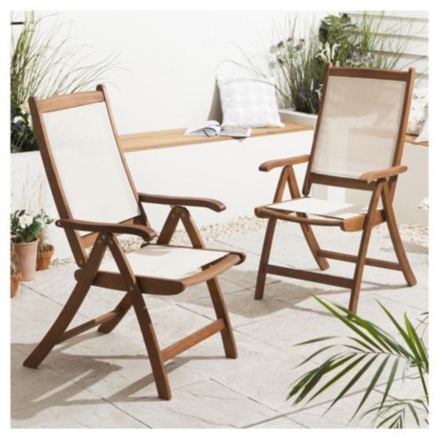 Windsor Folding Garden Chair, Wood & Fabric, 2 pack ...