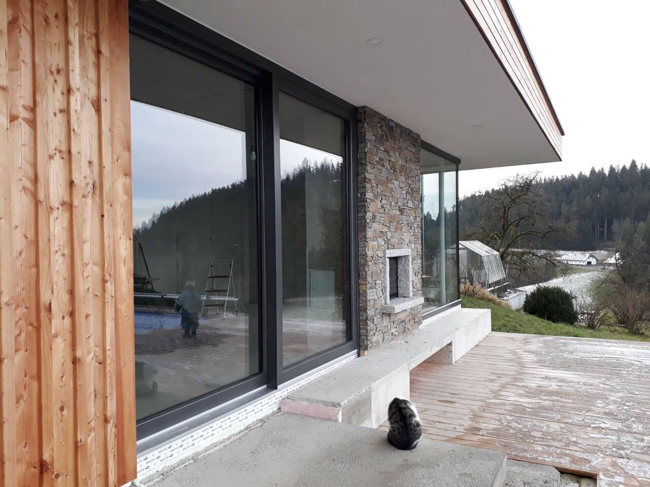 Hebeschiebetür Kunststoff Alu Grau Fenster Kunststoff