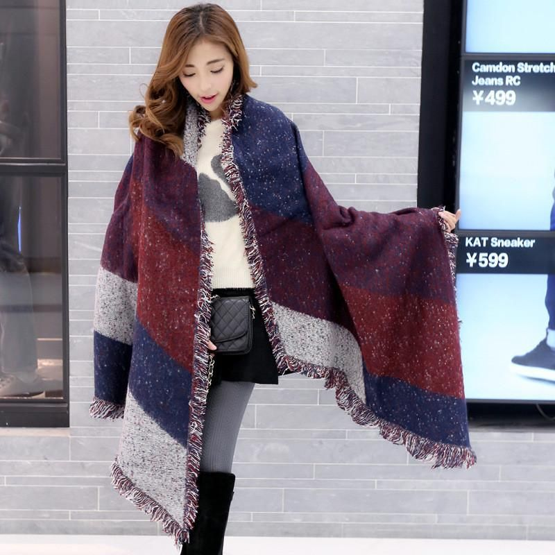 9afe5c2cccee5 Scarf Winter Warm Wool Blanket Women Long Cashmere Shawl Thick Scarves Cape  Wrap Fashion, 1 Scarf Color: Black&Gray, Coffee, Purple&Red aeProduct.