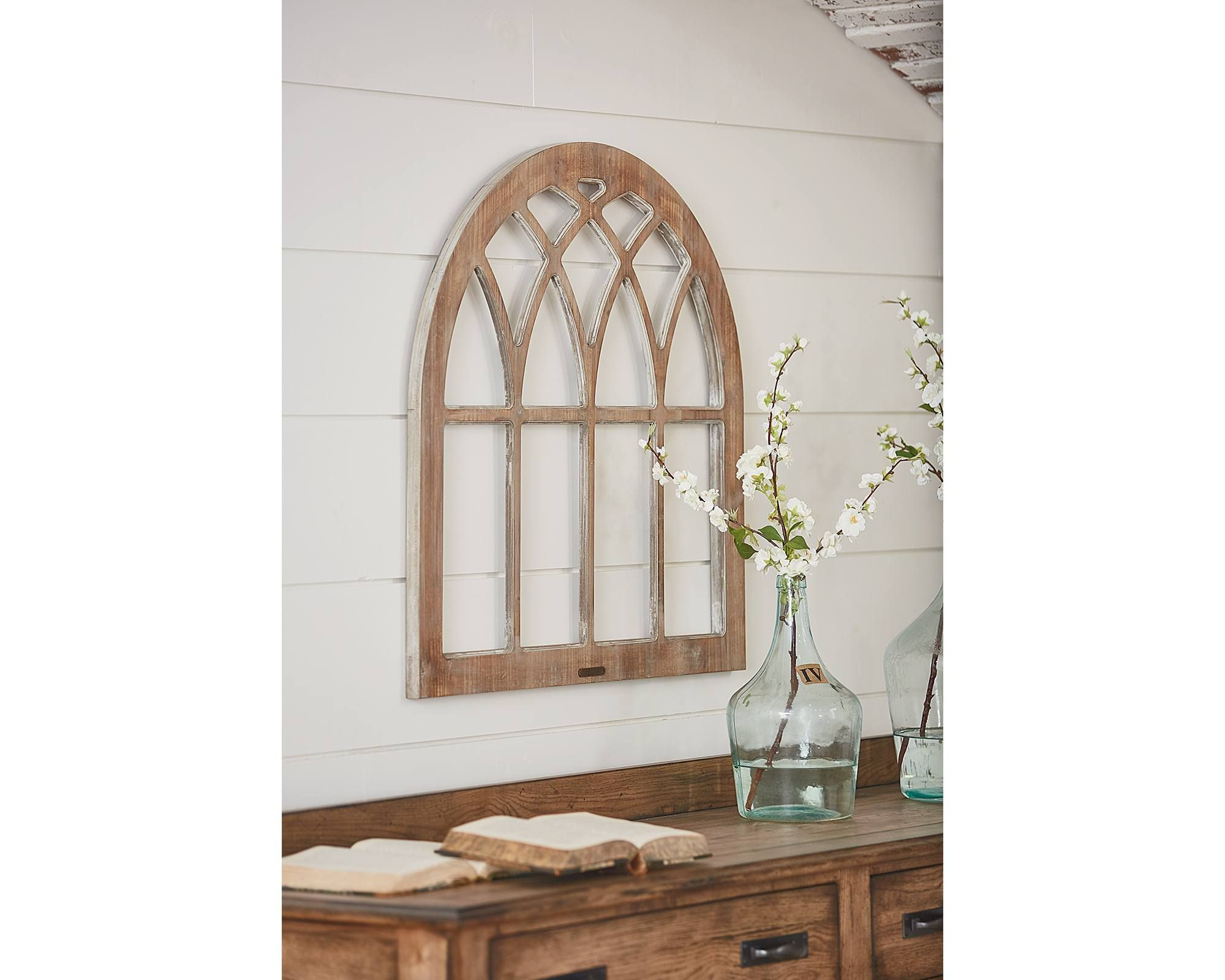 Cathedral window frame wall decor magnolia home ideas