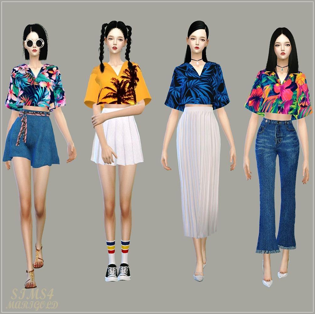 Crop Hawaiian Shirts_크롭 하와이안 셔츠_여자 의상 - SIMS4 marigold
