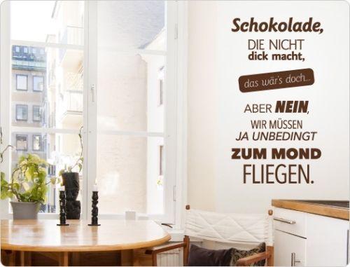 Wandtattoo-Kueche-Schokolade-die-nicht-dick-macht-Wanddeko-Spruch - wandtattoo schlafzimmer sprüche