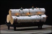 Firelights Log Candle Holders Log Candles Birch Log Candle Holder