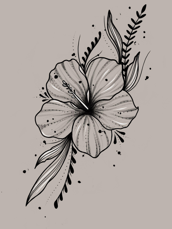 My Own Design Design Inspirationaltattooscollarbone In 2020 Hibiscus Flower Tattoos Flower Sketches Tropical Flower Tattoos