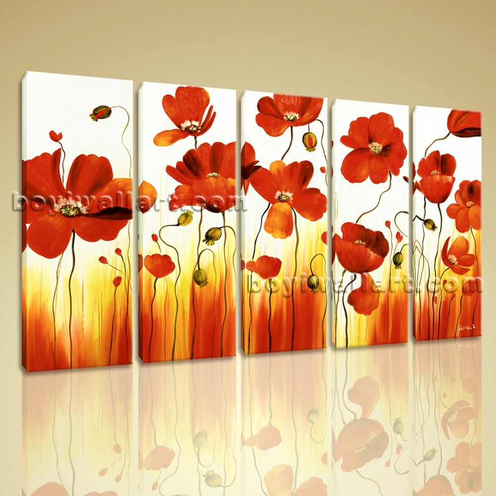 Large Stretched Canvas Wall Art Prints Abstract Painting Poppy ...