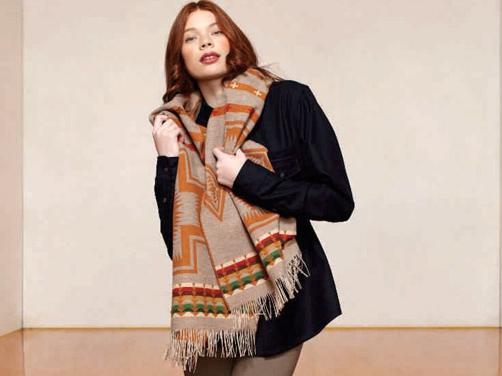 Pendleton- The Portland Collection Harding Scarf in squash/tan