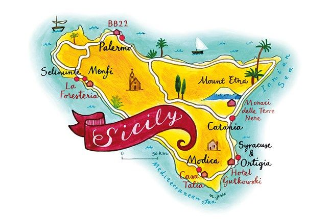 Sicily 39 s secret small hotels illustrated maps sicily for Sizilien design hotel