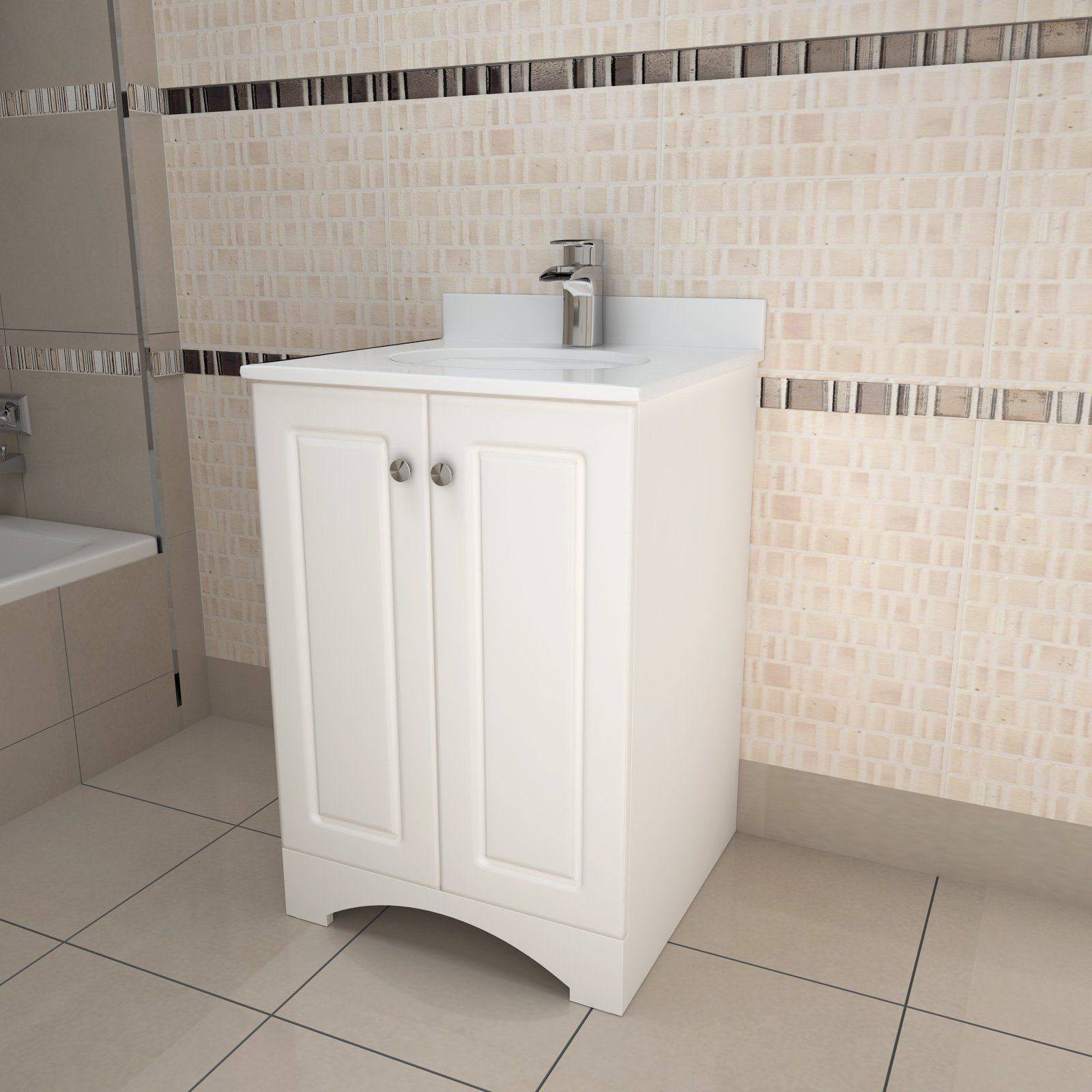 SUNNY SHOWER White Bathroom Vanity With Ceramic Basin And Marble Top VPW24  Local Pickup