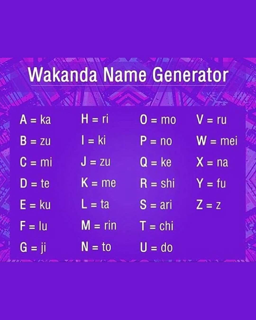 Wakanda name generator mine is mikirin