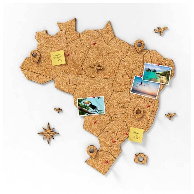 Mural de Cortiça Adesivo Mapa do Brasil + 10 Pins Especiais My ...