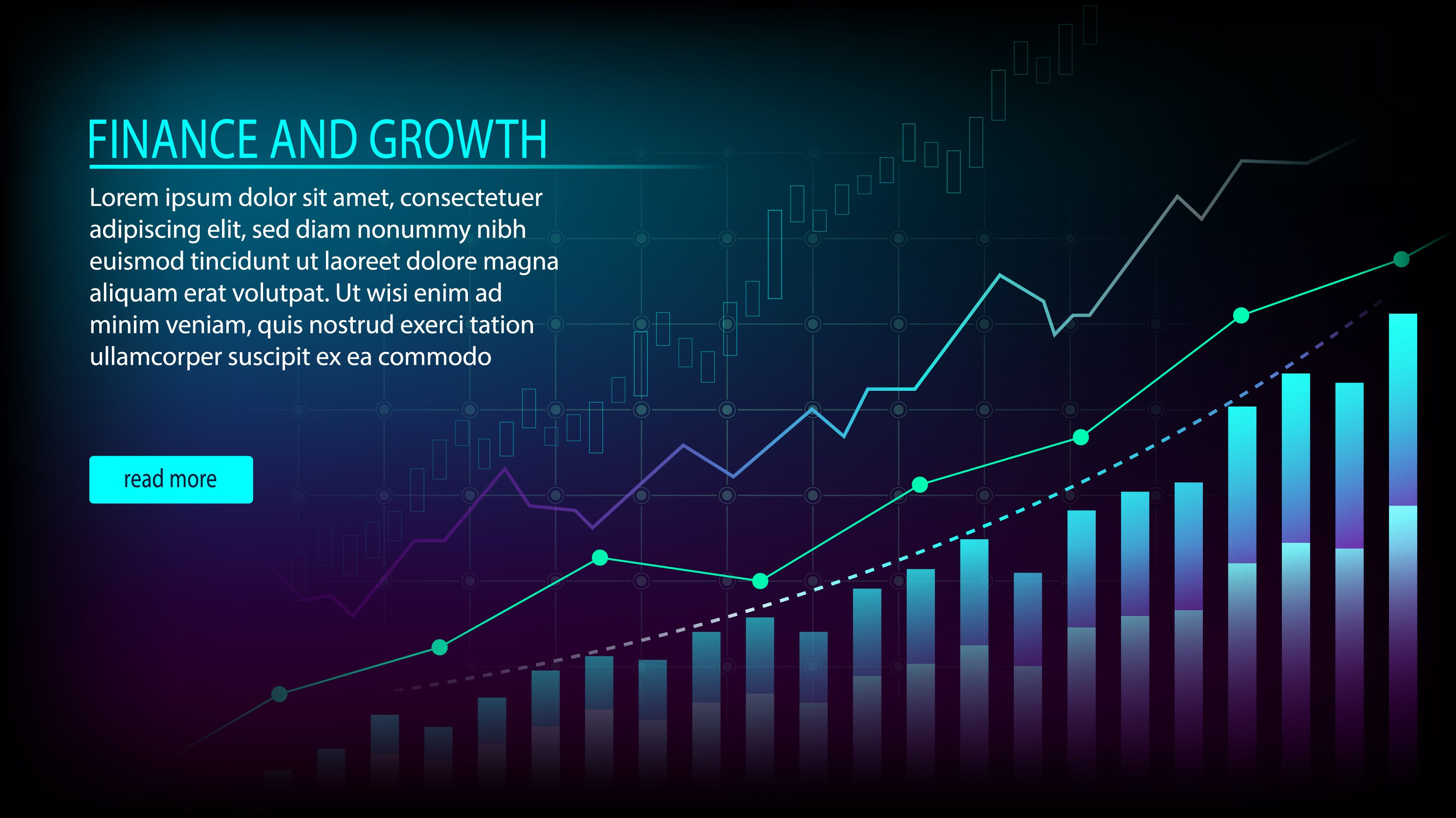 Financial Investment Growth With Indicators And Sample Head Text Vector Illustration In 2020 Financial Management Investing Stock Market Graph