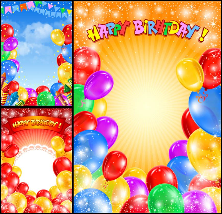 Happy Birthday backgrounds with balloons vector